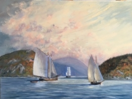 SCHOONERS AND WHALERS ON THE HUDSON 16 X 22