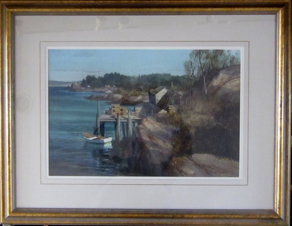 SHELTERED WHARF (WATERCOLOR)