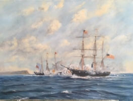 THE ALABAMA SUNK BY THE USS KEARSARGE OFF CHERBOURG 16 X 22