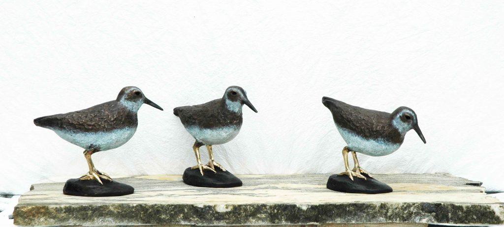 e Least Sandpipers Bronzes on Vermont Crystal Stratus Marble Base,